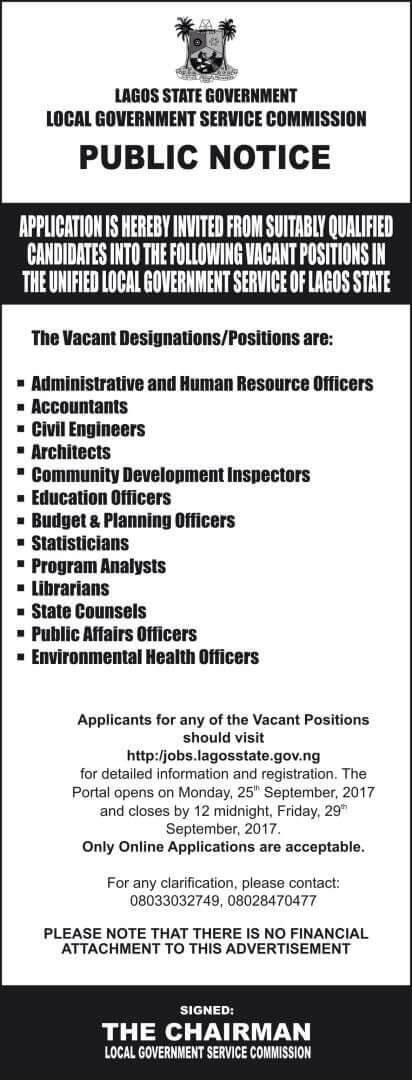 Lagos State Government Job