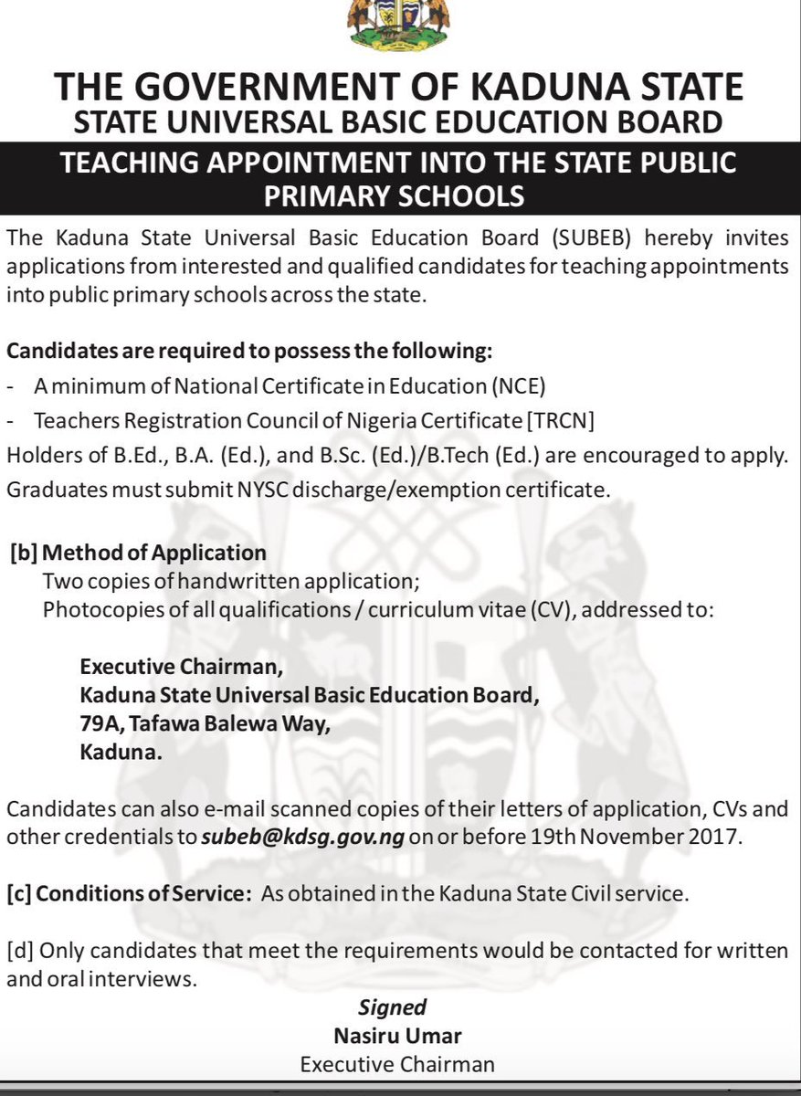 kaduna state job advert